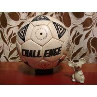 Мяч футбольный. Натуральная кожа. Ручная сшивка. FIFA approveed. CHALLENGE (1996 год.)