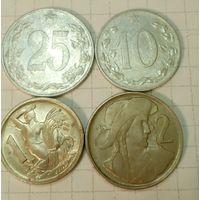 Чехословакия 10, 25 (1953) геллеров, 1 (1946), 2 (1948) кроны, набор из 4 монет, Чехословацкая республика