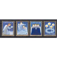 Латвия 1994 Рождество серия 4 марки** Ангелы   | Зима | Музыка(+)