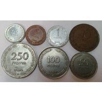 Израиль 1, 5, 10, 25, 50, 100, 250 прут (пруто) набор из 7 монет