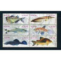 Бразилия 1988г. рыбы. 6м. сцепка