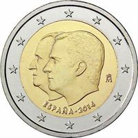 2 евро Испания 2014 Смена трона UNC из ролла