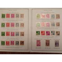 Марки США с 1926 по1960г. на  листах Скотта. 440 марок ,6 блоков. Гашеные 82 , остальные чистые без наклеек в клемташах. 50%каталога. Отсутствует несколько марок. Фото всех листов не поместилось.