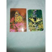2 карманных календаря Бабочки. 1990 и 1998 г.г.