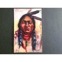 Редкая почтовая карточка США. Индеец. Этнография. Тиснение. 1908г. Оригинал.