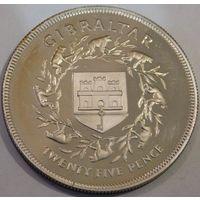 35. Гибралтар 25 пенсов 1977 год, серебро.
