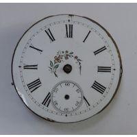 Механизм на карманные часы до 1917 г. Диаметр 3.3 см. Диаметр циферблата 3.5 см. Не исправный. Маятник целый.