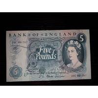 Великобритания. 5 фунтов 1966-70 г. UNC
