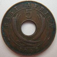 Восточная Африка Британская 5 центов 1942 г. (g)