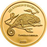"""Конго 20 франков 2003г. """"Хамелеон"""". Монета в капсуле. ЗОЛОТО 1,24гр.(1/25 oz)."""