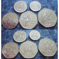 Сан-Томе и Принсипи - набор 5 монет 100, 250, 500, 1000, 2000 добр 1997г (25)