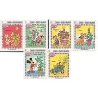 Острова Теркс и Кайкос 1983 Дисней | Рождество Mi:TC 648 -654 серия ** Елки