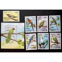 Кампучия 1989 г. Птицы. Попугаи. Фауна, полная серия из 7 марок + Блок #0137-Ф1