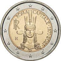 2 евро 2021 Италия 150 лет объявления Рима столицей Италии UNC из ролла