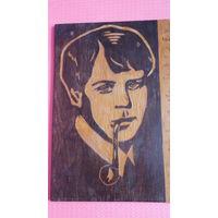 Сергей Есенин -портрет со стихом-*панно- резьба по дереву *40х31см