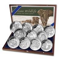 """RARE Сомали 3800 шиллингов 2004-14г. """"Слоны. Набор 11 монет"""". Монеты в капсулах; деревянном подарочном футляре; сертификат. СЕРЕБРО 11х31,10гр. (11 oz)."""