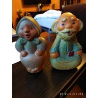Две старые игрушки из резины куклы Старуха и Старик СССР.