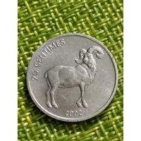Конго 25 сантимов 2002 Гривистый баран ( лев )