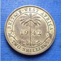 Британская Западная Африка колония 2 шиллинга 1942 Георг VI