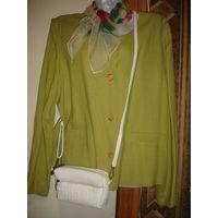Жакет пиджак She 50 КАК НОВЫЙ лен вискоза цвет фисташковый Прямого покроя