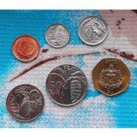 Самоа и Сисифо набор монет 2, 5, 10, 20, 50 центов; 1 доллар, UNC