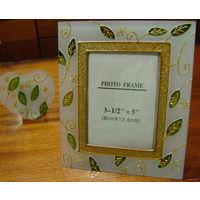 """Набор """"Листочки"""". Рамка для фотографии и подсвечник с ароматической свечой."""