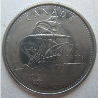 Канада 25 центов 2004 г. 400 лет первому французскому поселению. Парусник