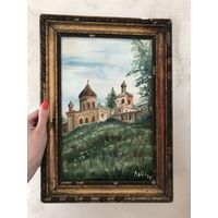 Старинная картина Православный храм Холст Масло