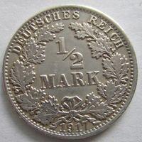 Германия. 1\2 марки 1917 A. Серебро . 108