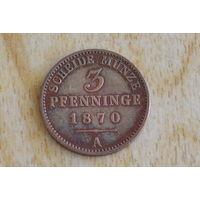 Пруссия 3 пфеннига 1870