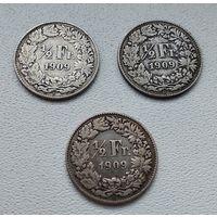 Швейцария 1/2 франка, 1909 7-6-21*23