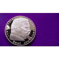 Германия 5 дойчмарок 1938г. Гинденбург (копия золотой монеты). позолота. распродажа