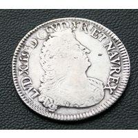 1/2 экю 1694 A, Франция, Людовик XIV. Перечекан с 1/2 экю 1691 года