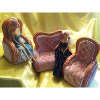 Диван и два кресла для куклы,кукольная мебель,мебель для куклы ручная работа