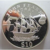 Науру. 10 долларов 1994. Открытие о.Науру. Серебро (264)