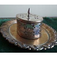 Шкатулка для бижутерии каробка латунь/бронза посеребрение