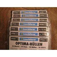 Листы для марок  ОPTIMA 5s,6s,7s, упаковка (10шт.), черные, новые, двухсторонние.