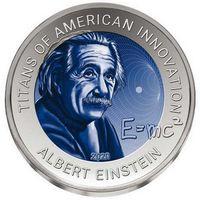"Гана 2 седи 2020. ""Альберт Эйнштейн"". Монета в капсуле, подарочном футляре; сертификат; коробка. Титан 15гр."