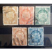 Боливия 5 стареньких марочек герб страны