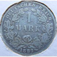 8. Германия 1 марка 1881 год, серебро