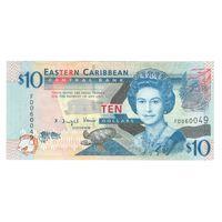 Восточно-Карибские Штаты 10 долларов образца 2000 года. Состояние UNC! Редкая!