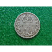 Великобритания 3 пенса 1893г. Серебро.  Виктория