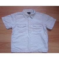Рубашка светло-бирюзовая хлопок-лен Next 3-4 года