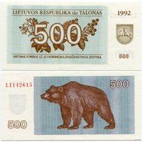 Литва. 500 талонов (образца 1992 года, P44, UNC) [серия LI]
