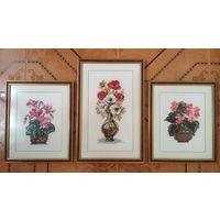 Серия красивых вышитых картин Цветы в вазах