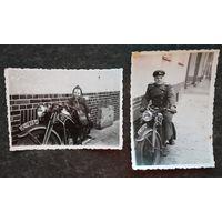 Фото на трофейном мотоцикле. Германия 1946 г. 7х9.5 см
