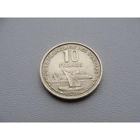 "Сомали. ""Французское"" 10 франков 1965 год KM#11"