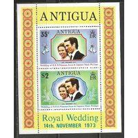 Антигуа. Свадьба принцессы Анны и капитана Марка Филлипса. 1973г. Mi#Бл10.