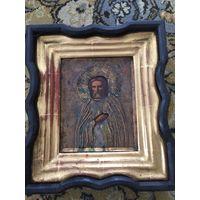 Икона в киоте Серафим Саровский, оклад латунь,золочение