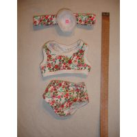 Комплект одежды для куклы трусы+майка+повязка на голову